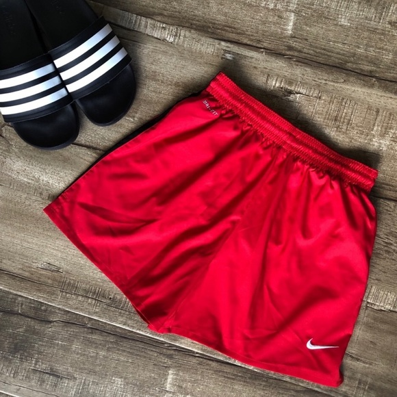 Nike Red Black Stripe Dri Fit Girls Soccer Shorts